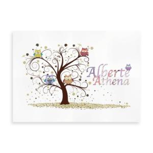 Ugler i træ - navneplakat til baby eller mindre børn