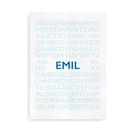 Alfabetplakat med navn dreng
