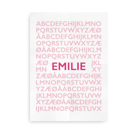 Alfabetplakat med navn - til piger