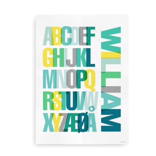Navneplakat med farverigt alfabet dreng