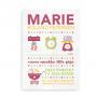 Illustreret fødselstavle og navneplakat med navn, fødselsinformationer og personlige citater - til piger