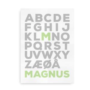 navneplaket alfabet bogstav som i 1
