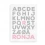 Navneplakat med dansk alfabet - Forbogstav i farve - til piger