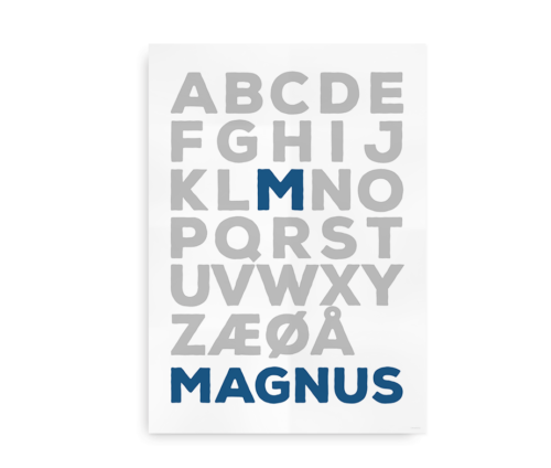 Navneplakat med alfabetet - Forbogstav i farve - til drenge