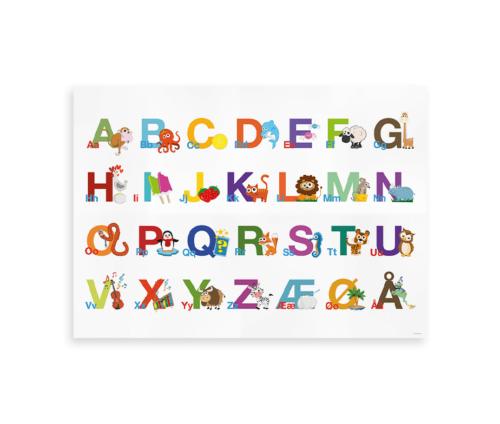 ABC Alfabetplakat med det danske alfabet - horisontal plakat