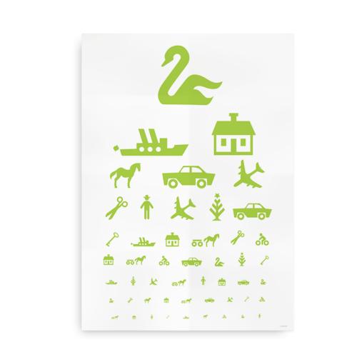 Plakat med den klassiske synstavle i frisk grøn farve