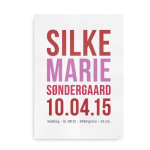 Navneplakat med simpel typografi pige