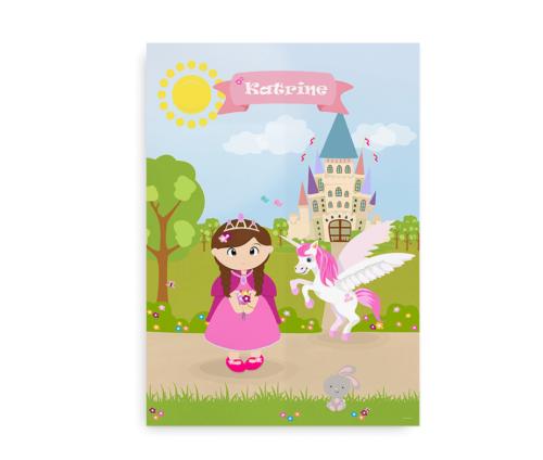 Navneplakat til piger med prinsesse, enhjørning, søde dyr og et slot