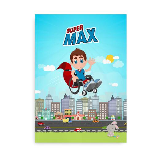 """Plakat til kørestolsbrugere - """"Superhelt i kørestol"""" - med navn til drenge"""