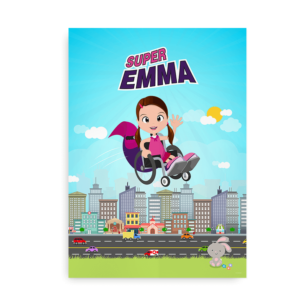 Plakat med navn til piger i kørestol -