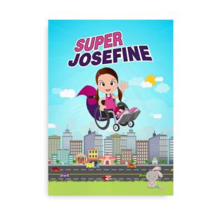 """Navneplakat til pigen i kørestol - """"Superhelt i kørestol PIGE"""""""