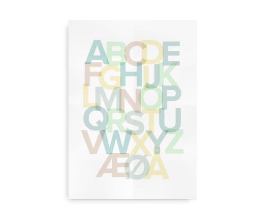Alfabetplakat med pastelfarver - dreng