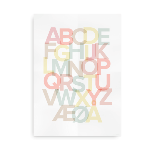 Alfabetplakat med pastelfarver - pige