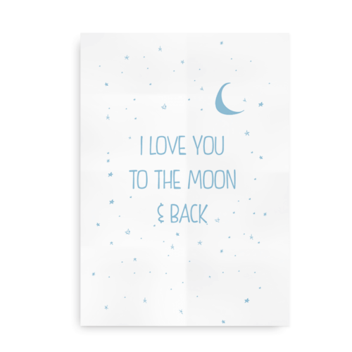 I love you to the moon and back - blå