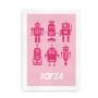Navneplakat med robotter candyfloss og hindbær
