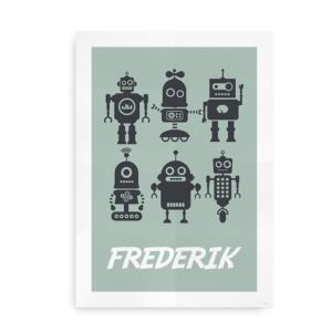 Navneplakat med robotter gråvejr og skifer