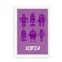Navneplakat med robotter lavendel og blomme