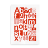 Alfabetplakat i skandinavisk stil rød