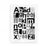 ABC plakat med alfabet i unik skandinavisk stil - sort og hvid