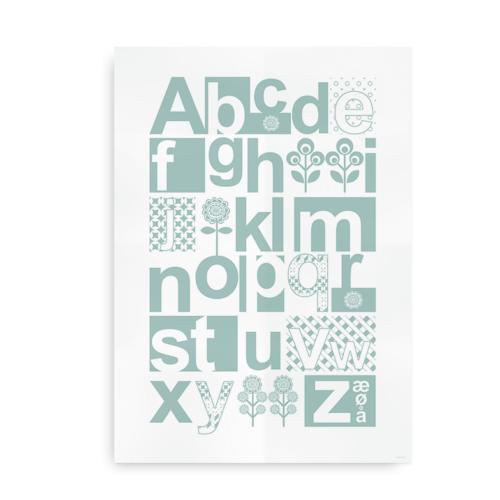 Alfabetplakat i skandinavisk stil turkis