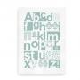 ABC Alfabetplakat med dansk alfabet i skandinavisk stil - turkis
