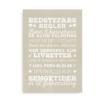 """""""Bedstefars husregler"""" - Plakat med hvid tekst på beige baggrund"""