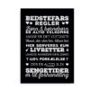 """""""Bedstefars husregler"""" - plakat med de særlige regler hos bedstefar - hvid på sort baggrund"""