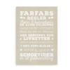 """Poster """"Farfars regler"""" - hvid tekst på beigebaggrund"""