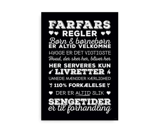 """Sjov gave til bedstefar """"Farfars regler"""" - hvid tekst på sort baggrund"""