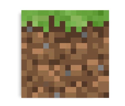 Kvadratisk plakat inspireret af Minecraft