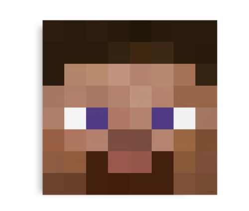 Plakat inspireret af Steve fra Minecraft
