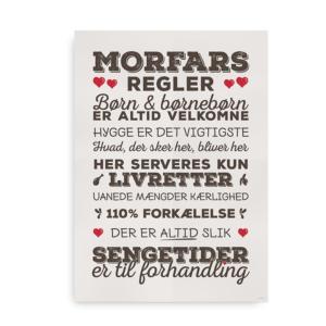 """Den klassiske plakat med """"Morfars Regler"""" - brun med røde hjerter"""
