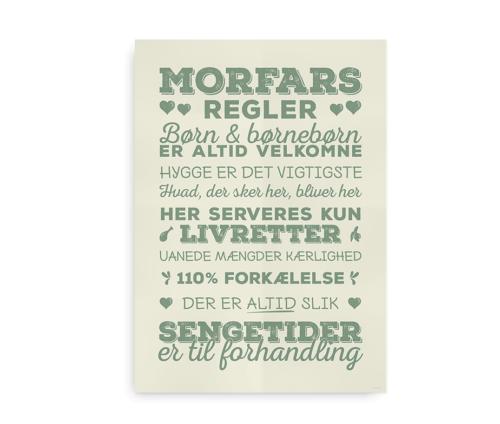 """""""Morfars husregler"""" - plakat med morfars regler"""