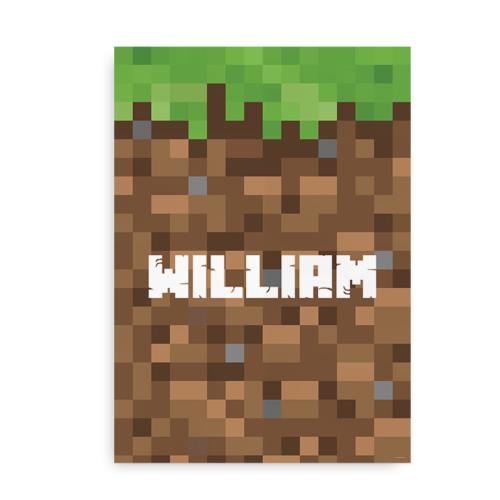 Plakat med navn på Minecraft-inspireret baggrund