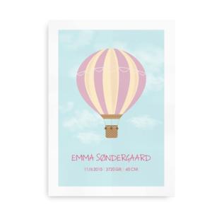 Navneplakat med luftballon til piger