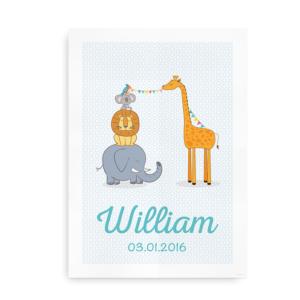 Plakat med navn, dyr og festlige flag - dreng