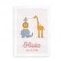 Plakat med navn, dyr og festlige flag - pige