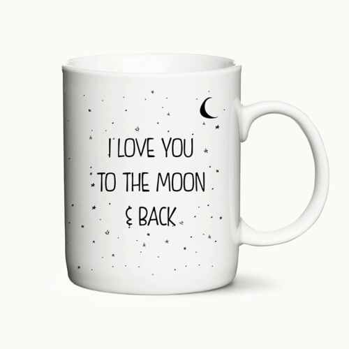 I love you to the moon and back - kaffekrus med printet citat