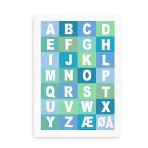 Alfabetplakat i flere farver - dreng