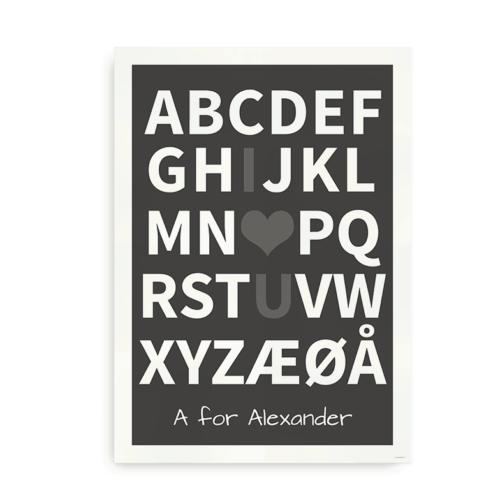 I Love You plakat med navn - grå