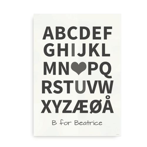 I Love You plakat med navn - hvid