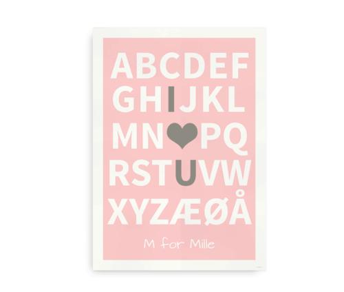 I Love You plakat med navn - lyserød