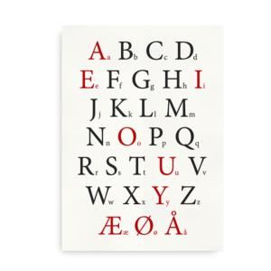 Klassisk alfabetplakat med røde vokaler - dansk alfabet