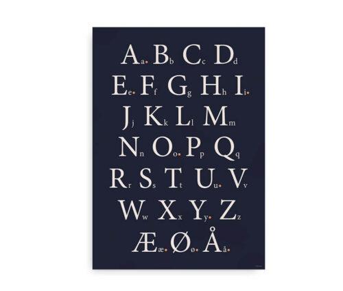 Klassisk alfabetplakat - midnatblå med prikker ved vokaler