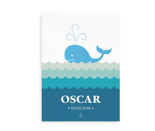Plakat med hval, navn og fødselsdag