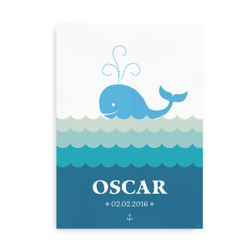 Plakat med hval og navn