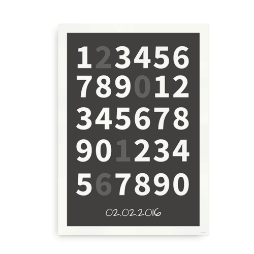 Plakat med tal og fødselsdato - grå