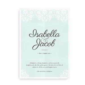 Bryllupsplakat med navne og dato turkis