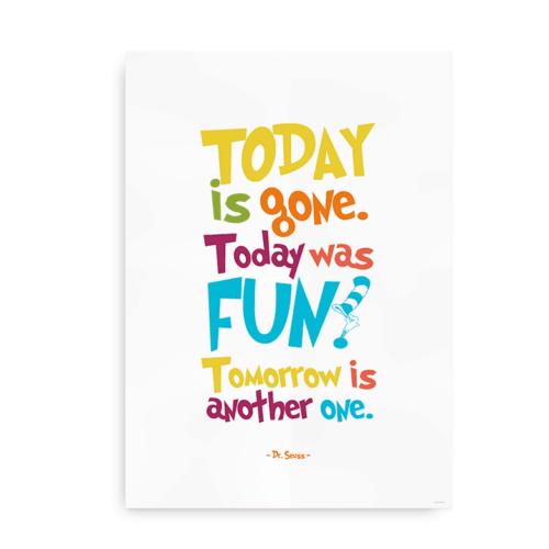 Today is Gone. Today was Fun. Seuss citatplakat