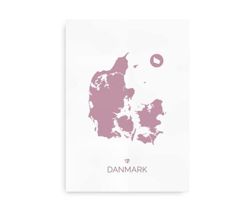 Danmarkskort, plakat med Danmark
